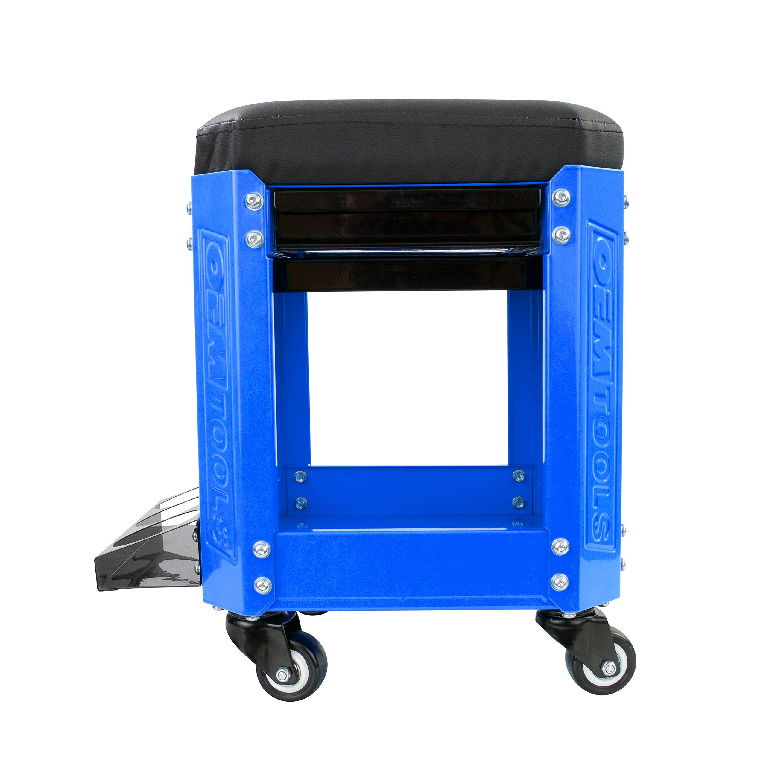 OEMTOOL 24996 Blue Rolling Workshop Creeper Seat with 2 Tool Storage Drawers Under Seat Parts Storage Can Holders by OEMTOOLS (Image #3)