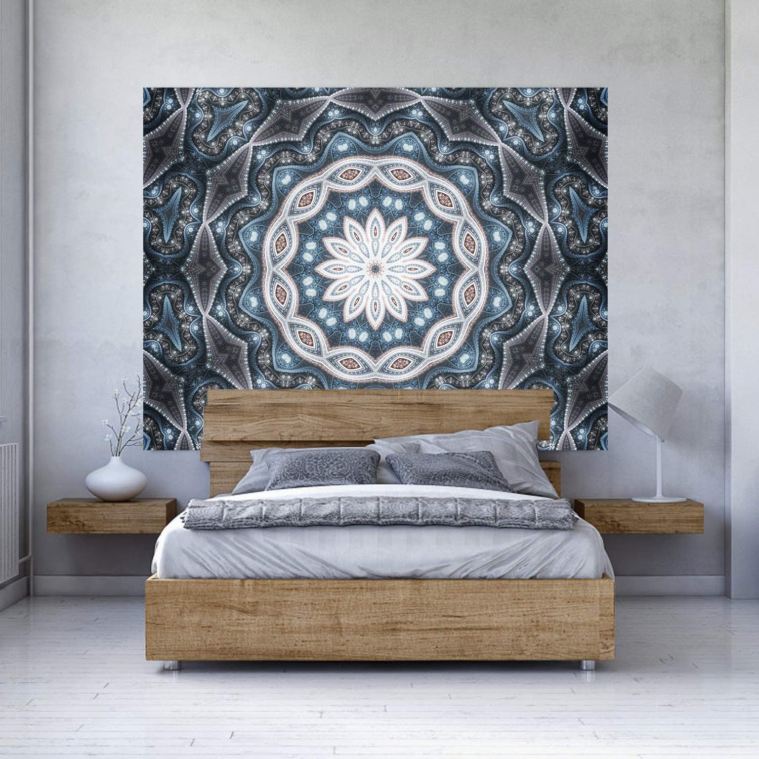 Tapestries Hanging for Decor Bedroom Dorm Bedspread Picnic Blanket Matching Multi Style and 3 Size Blue, S:W 37.4/×H 28.7 FHSQX Art Handicrafts Hippie Mandala Tapestry Wall Hanging