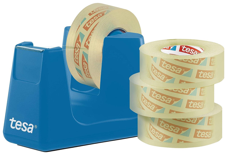 Tesa 53908-00000 Easy Cut - Dispenser per nastro adesivo Smart, con pad per posizionamento sicuro, 4 pellicole trasparenti da 33 m, 19 mm, colore: Blu ciano