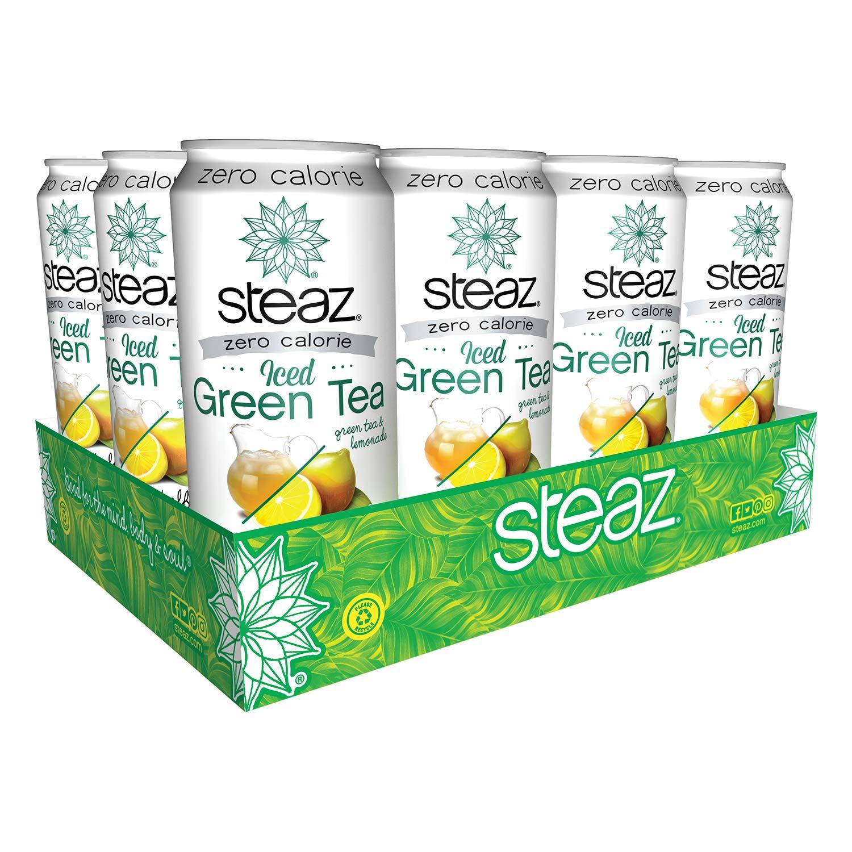 Steaz Organic Zero Calorie Iced Green Tea, Half & Half, 16 OZ (Pack of 12) by Steaz
