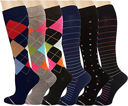 NEW Dr Motion Ladies 6 Pair Pack Compression Socks Assorted FREE SHIPPING