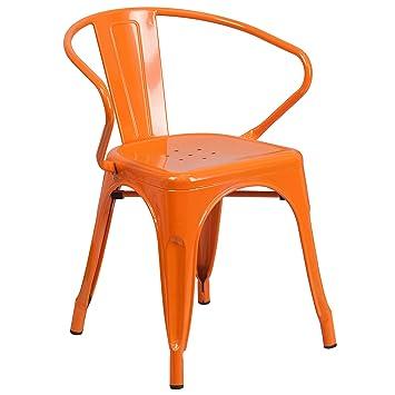 Flash Furniture Orange Metal Indoor Outdoor Chair With Arms