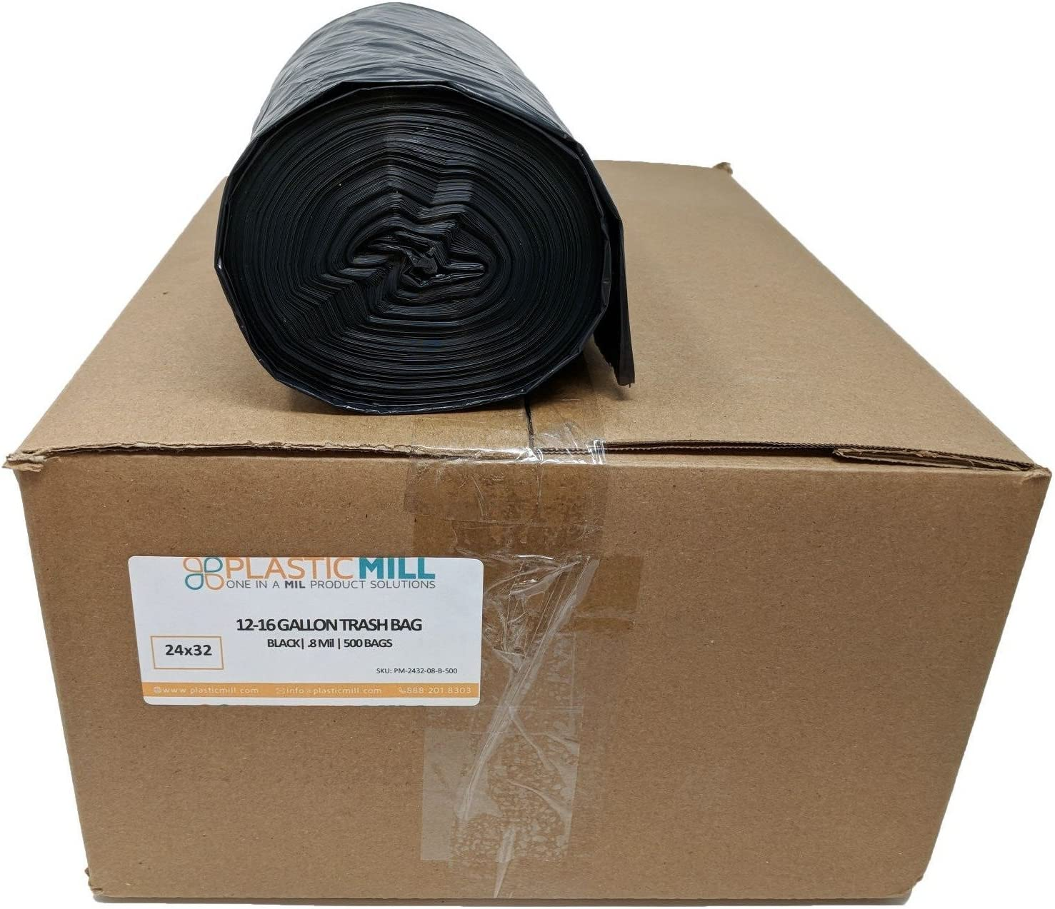 PlasticMill 12-16 Gallon Garbage Bags: Black, .8 Mil, 24x32, 500 Bags.