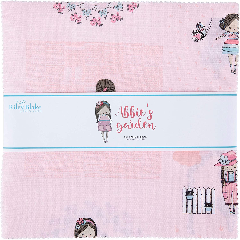Riley Blake Precut Fabric Abbies Garden 10 Inch Stacker, 42 Pcs.
