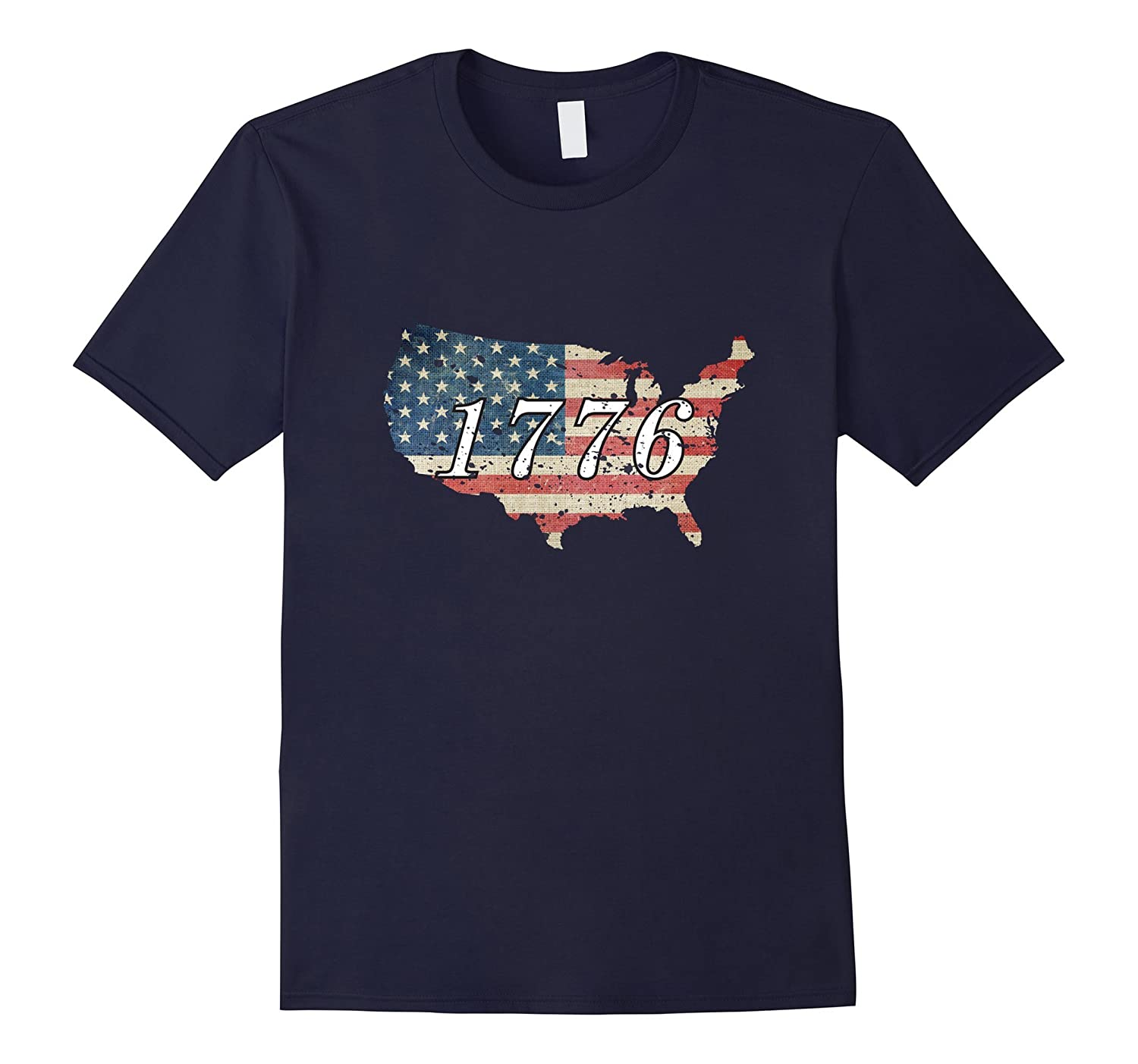 1776 American Flag Map Distressed Vintage T-shirt-PL