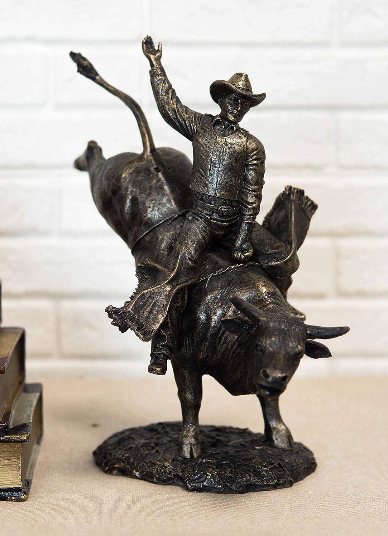 Ebros Rustic Western Rodeo Bull Rider Cowboy On Bucking Bull Statue 10.5