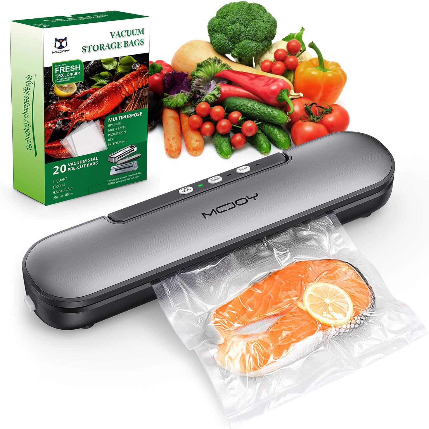 MCJOY Bundled Product of V69 Vacuum Sealer Machine and Vacuum Bag, Automatic Operation Vacuum Air Sealing For Food Preservation System, Led Indicator Lights, Compact Design And Easy Clean