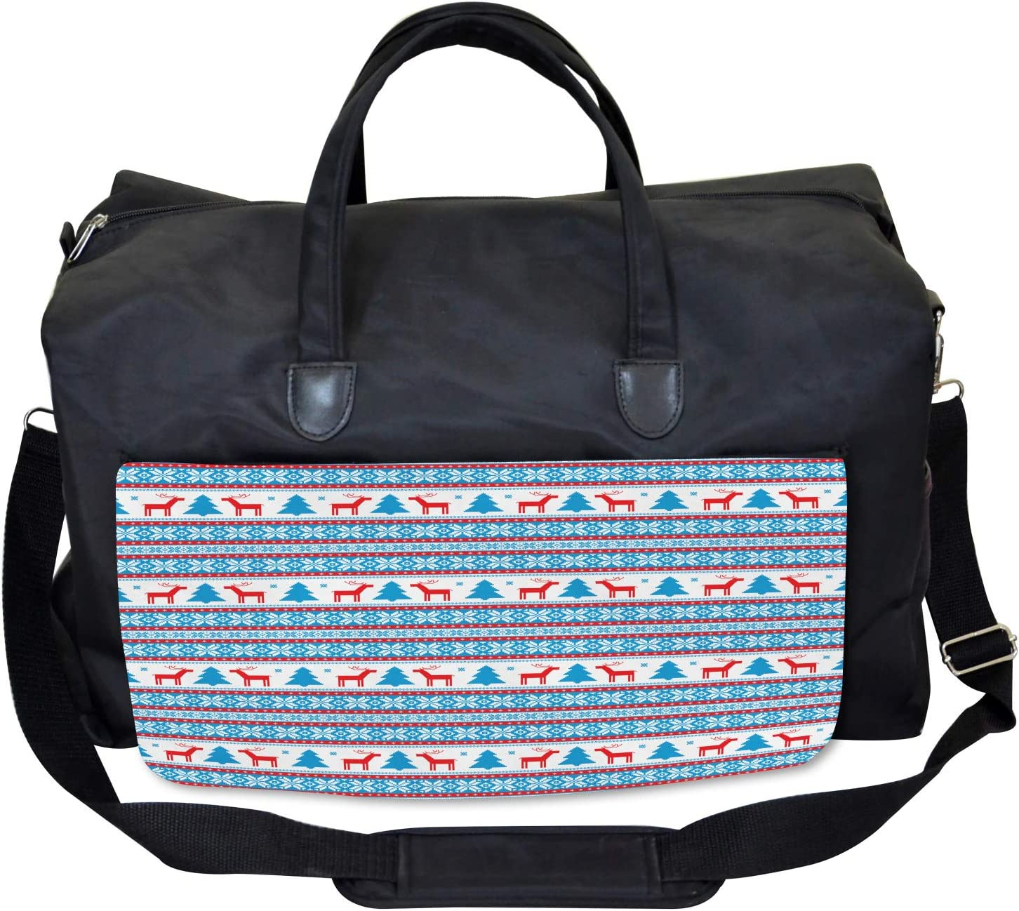 Ambesonne Christmas Gym Bag Large Weekender Carry-on Folk Knit Style Art