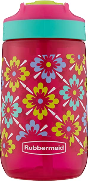 Rubbermaid Leak-Proof Sip Kids Water Bottle, 14 oz, Tiki Flowers Graphic