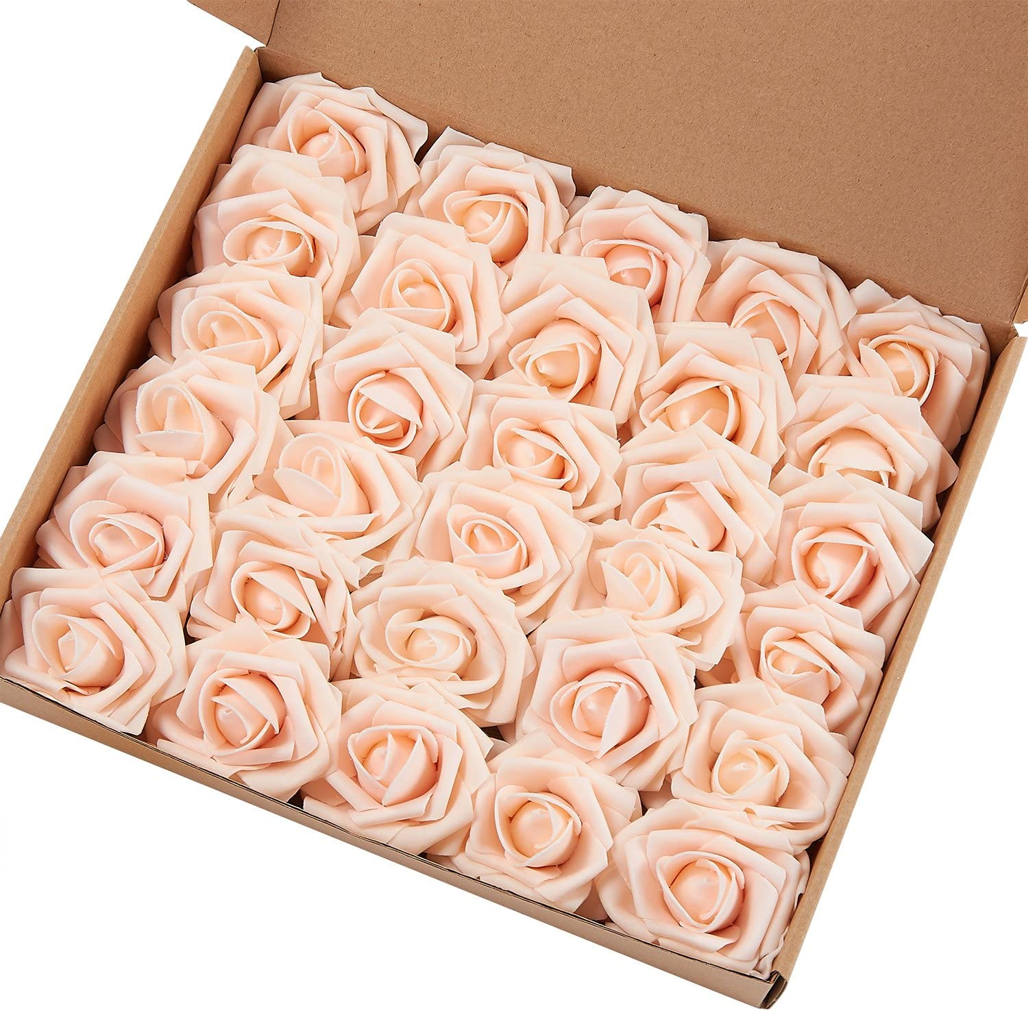 MACTING Artificial Flower Rose, 30pcs Real Touch Artificial Roses for DIY Bouquets Wedding Party Baby Shower Home Decor(Champagne)