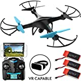 Drones with Camera for Adults and Kids - U45WF Blue Jay 720p VR HD Camera Drone Quadcopter, RC WiFi FPV Drone with Camera Live Video and 3 Batteries