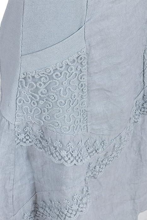 4a0ee0e49b28eb GS-Fashion Leinenkleid Damen Sommer mit Spitze am Rücken KLeid ärmellos  knielang Grau 36 (