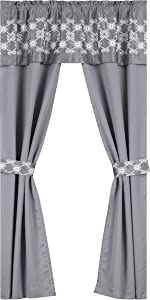 Regal Home Collections Leila Rod Pocket Curtain Panels with Attached valances and Two Bonus tie Backs 5 Piece Embroidered Blackout Window Set, Amore Gray
