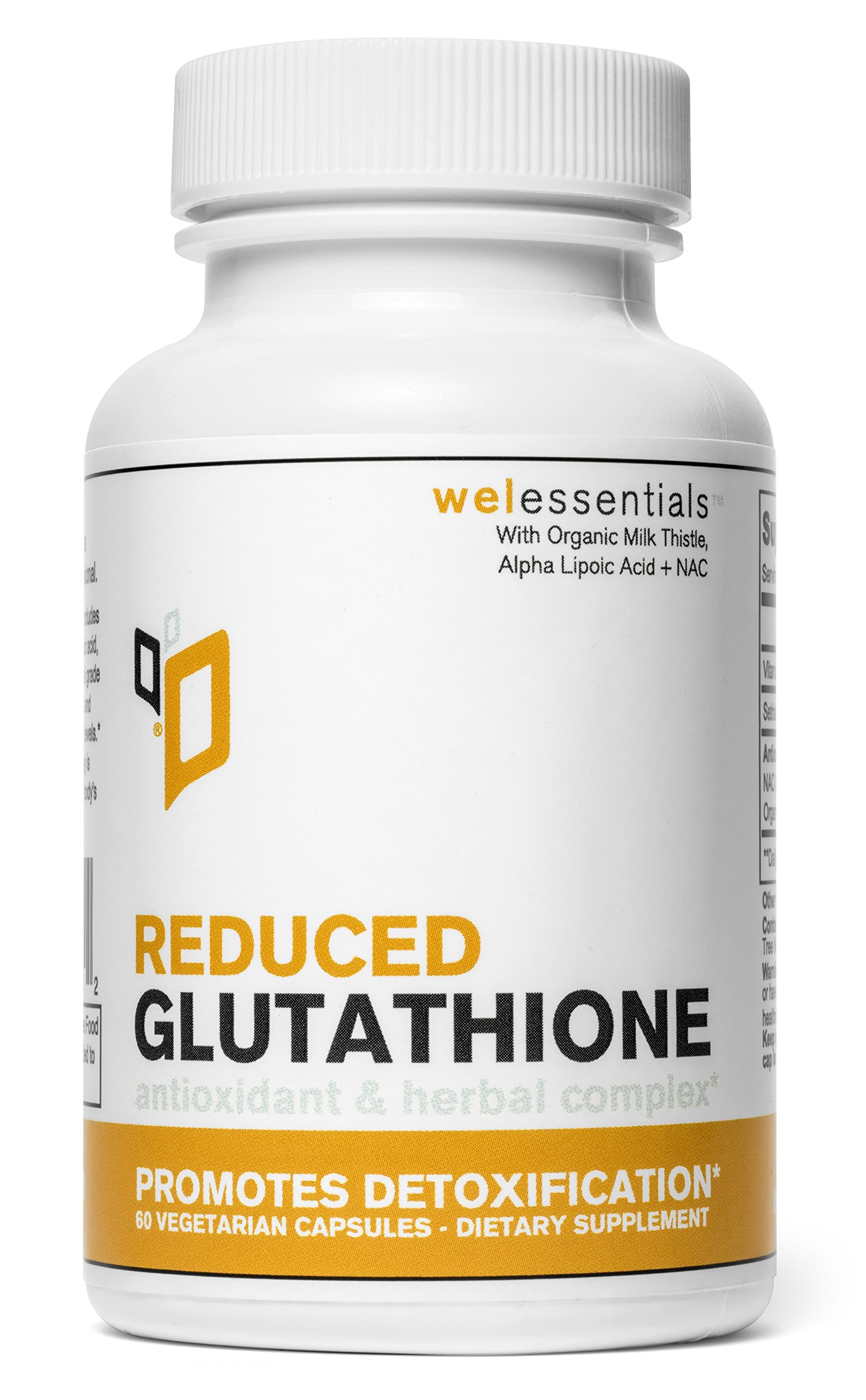Wel EssentialsTM Glutathione Complex - Antioxidant & Herbal Complex to Promote Detoxification (With Glutathione (reduced), NAC, Alpha Lipoic Acid, Organic Milk Thistle)