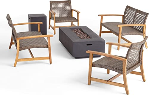 Great Deal Furniture Allison Outdoor 6 Piece Wood and Wicker Chat Set