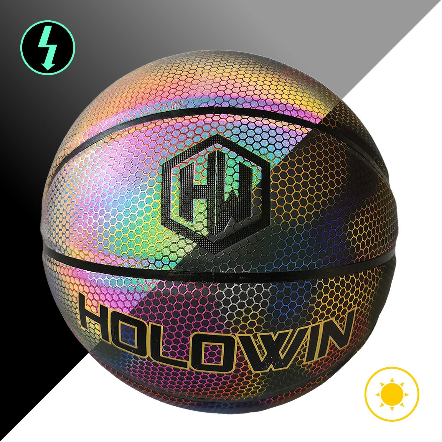 HOLOWIN Reflective Glowing Holographic Luminous Basket Ball for Night Game Perfect HoloHoops Gifts Toys