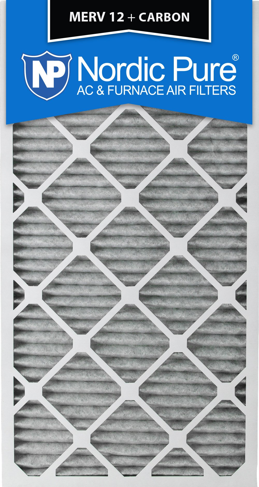 Nordic Pure 24x30x1PM12C-3 Pleated MERV 12 Plus Carbon AC Furnace Filters (3 Pack), 24 x 30 x 1''