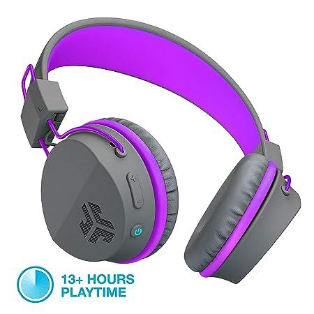 JLab Audio Neon Bluetooth Folding On-Ear Headphones Wireless Headphones 13 Hour Bluetooth Playtime Noise Isolation 40mm Neodymium Drivers C3 Sound Crystal Clear Clarity Graphite Purple