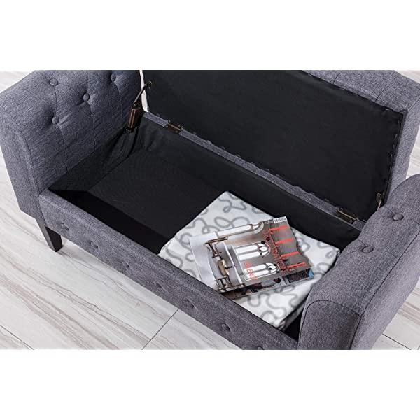 "Vesgantti 41"" Button-Tufted Armed Fabric Bench - Upholstered Hinged Lift Top Linen Storage Ottoman - Rectangular Cushion Padded Bed Bench Seat Footstool for Entryway Living Room Bedroom 