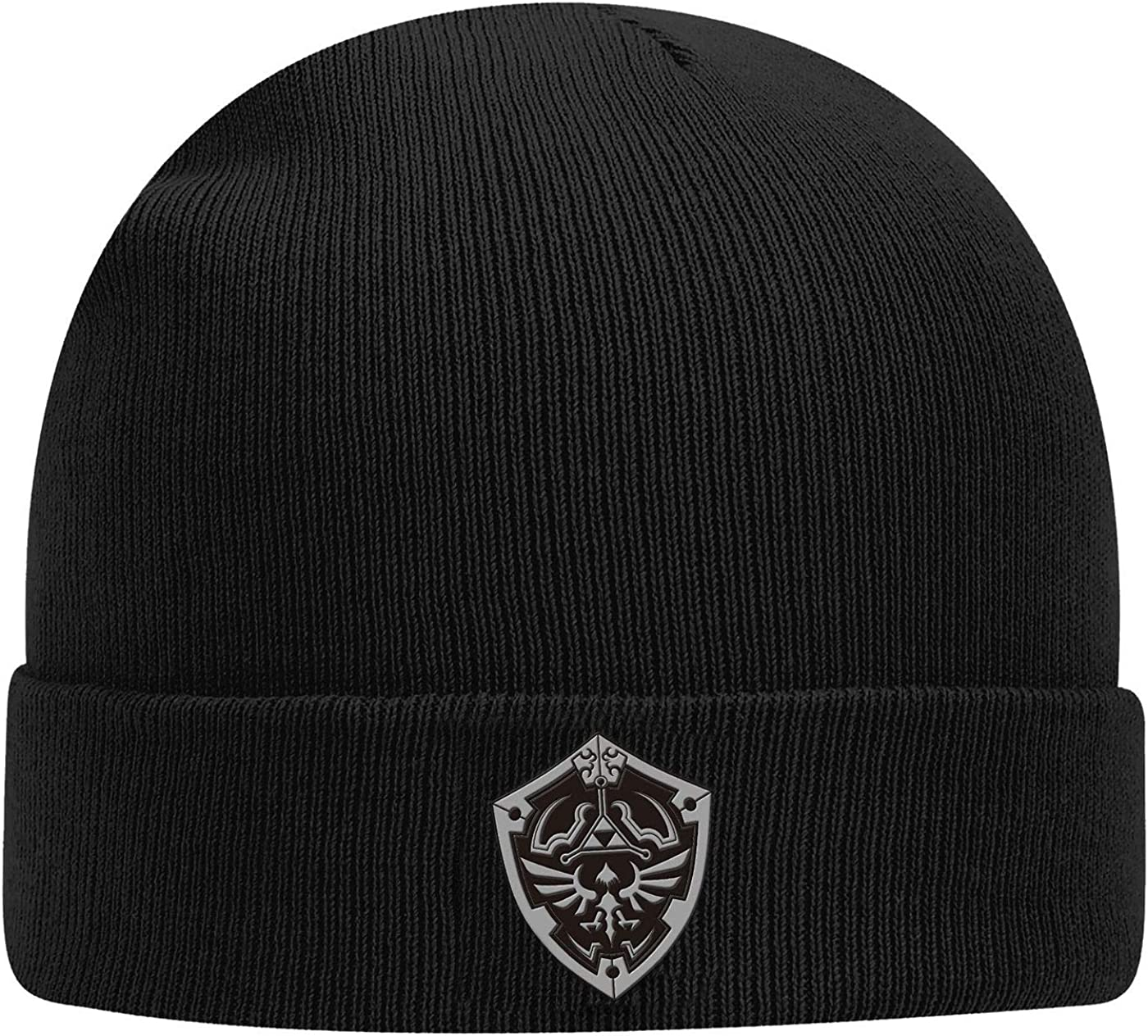 Controller Gear Zelda Breath of The Wild Silver Shield Knit Hat Beanie Black One Size
