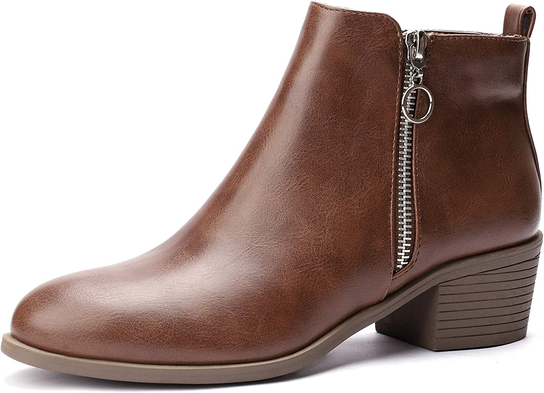 CINAK Womens Ankle Boots Casual Low Heel Double Zipper Comfort Booties Suede Shoes