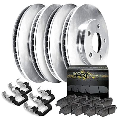 Fit 2006-2015 Mazda 5 Front Rear HartBrakes Blank Brake Rotors Kit+Ceramic Brake Pad: Automotive