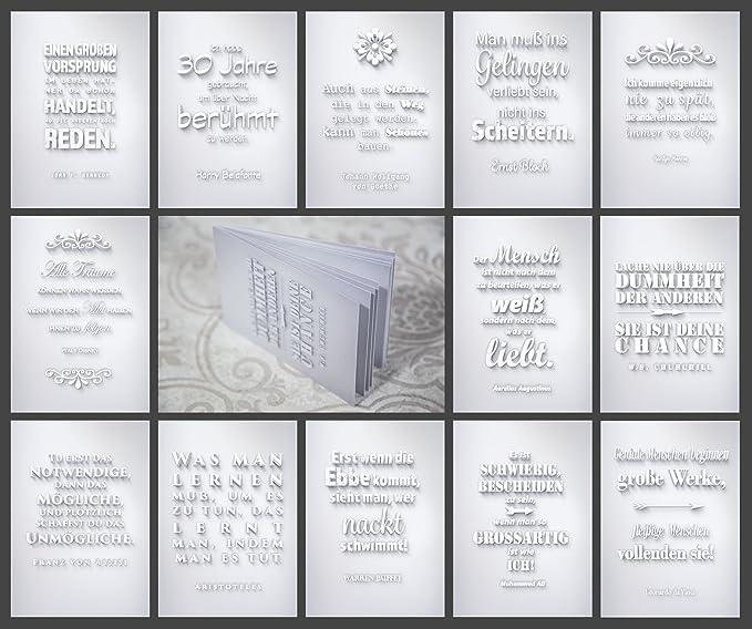 13 Postkarten Din A6 Im Block Zitate Sprüche Statements