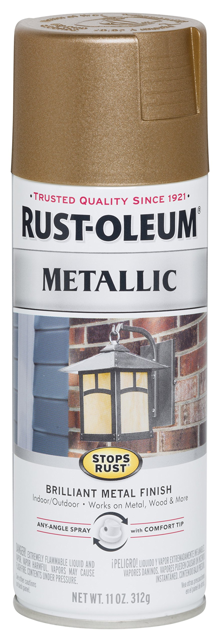 Rust-Oleum 7274830 Stops Rust Metallic Spray Paint, 11 oz, Antique Brass