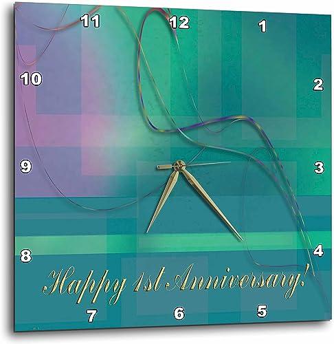 3dRose Beverly Turner Anniversary Design – 1st Anniversary, Employee, Business, Graceful Plaid Design – 13×13 Wall Clock DPP_43399_2