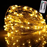 Kumeida Remote Control String Lights, Indoor and Outdoor Battery Operated Ultra Thin Silver String Wire with Timer 100 LED String Lights on 33 FT (Warm White)