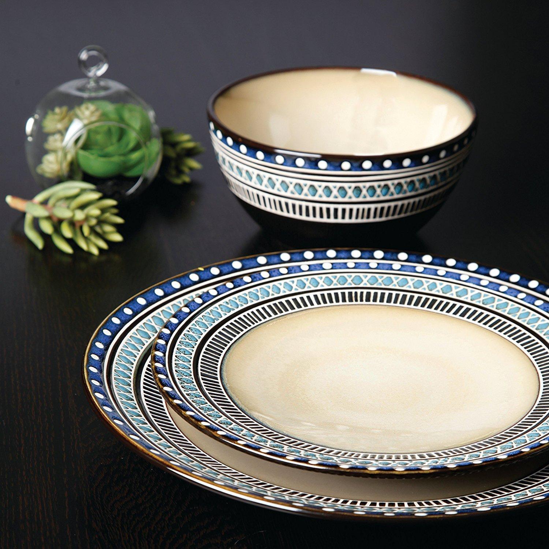 Gibson Magello 16 Piece Dinnerware Set, Cream/Brown/Blue by Gibson (Image #3)