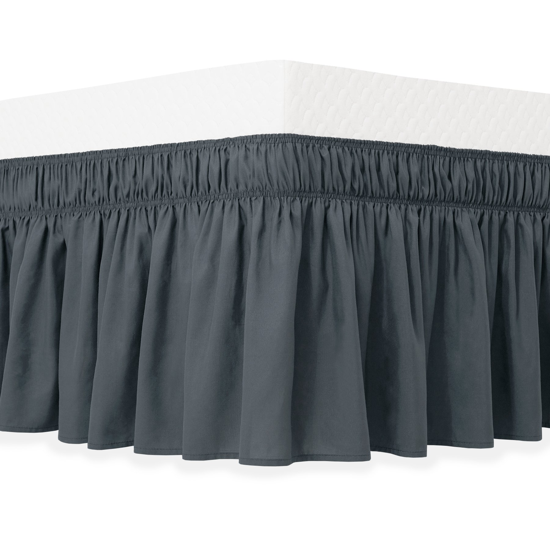 Guken Wrap Around Bed Skirt Elastic Soft Ruffled Bed Skirt Easy On and Easy Off (Queen, Gray)