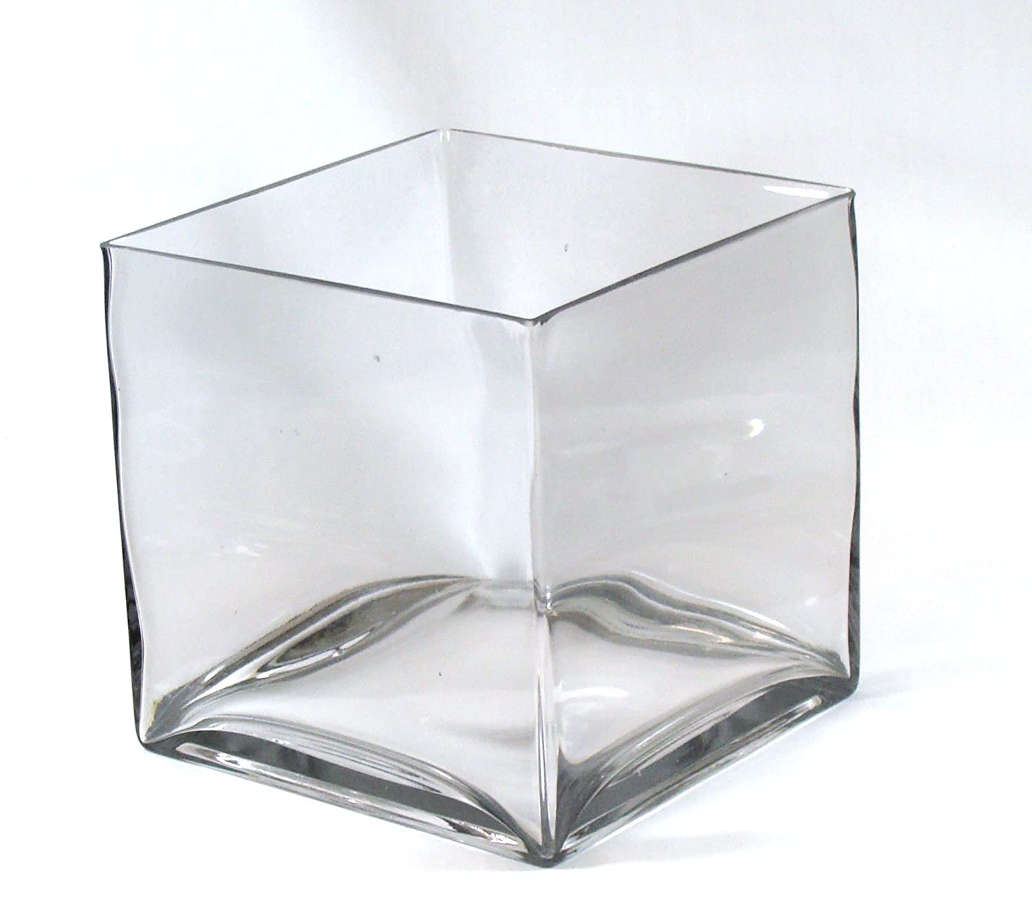 "Amazon 8"" Square Glass Vase 8 Inch Clear Cube Oversize"
