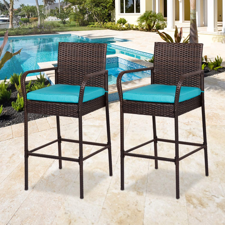 Kinbor Outdoor Barstool Patio Wicker Bar Height Chairs Furniture for Patio,  Pool, Garden, Deck