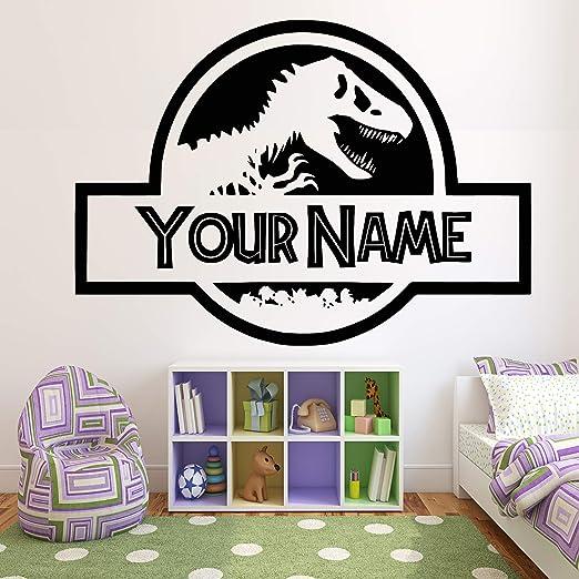 Personalised Dinosaur Wall Art Sticker Boys Girls Jurassic Bedroom Vinyl Decal