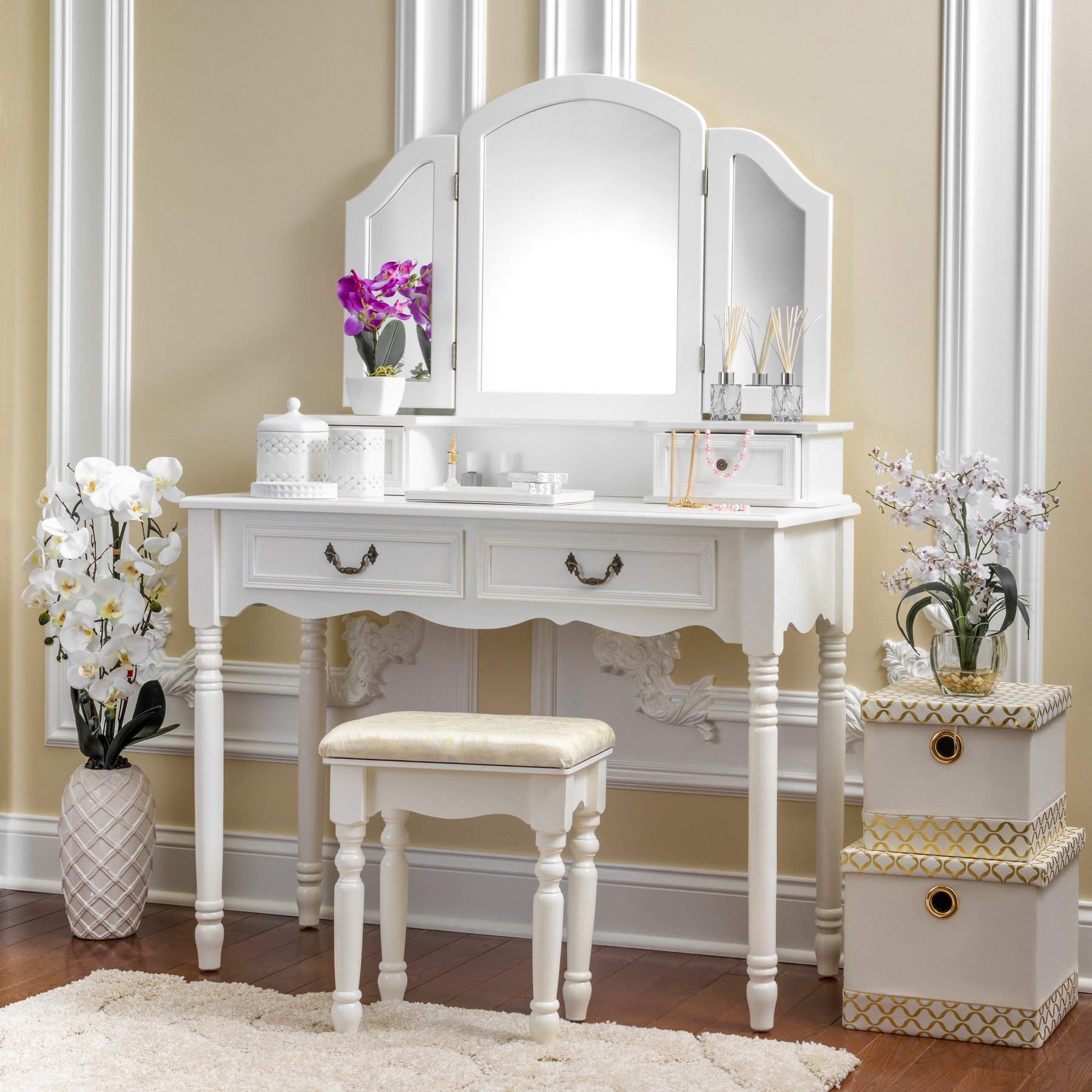 Fineboard FB-VT06-WV Elegant Vanity Set Makeup Dressing Table with 3 Mirrors and Stool, 4 Drawers, White