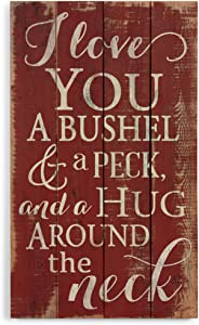 P. Graham Dunn I Love You a Bushel and a Peck Distressed Red 24 x 14 Wood Pallet Design Wall Art Sign