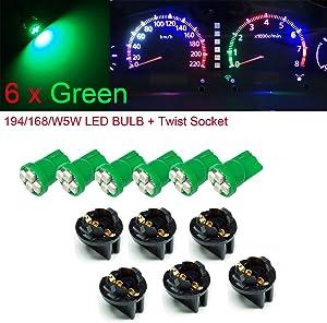 "PA 6x T10 168 194 Led instrument Panel Dash Light Bulb 1/2"" Twist Lock Socket -12V (Green)"