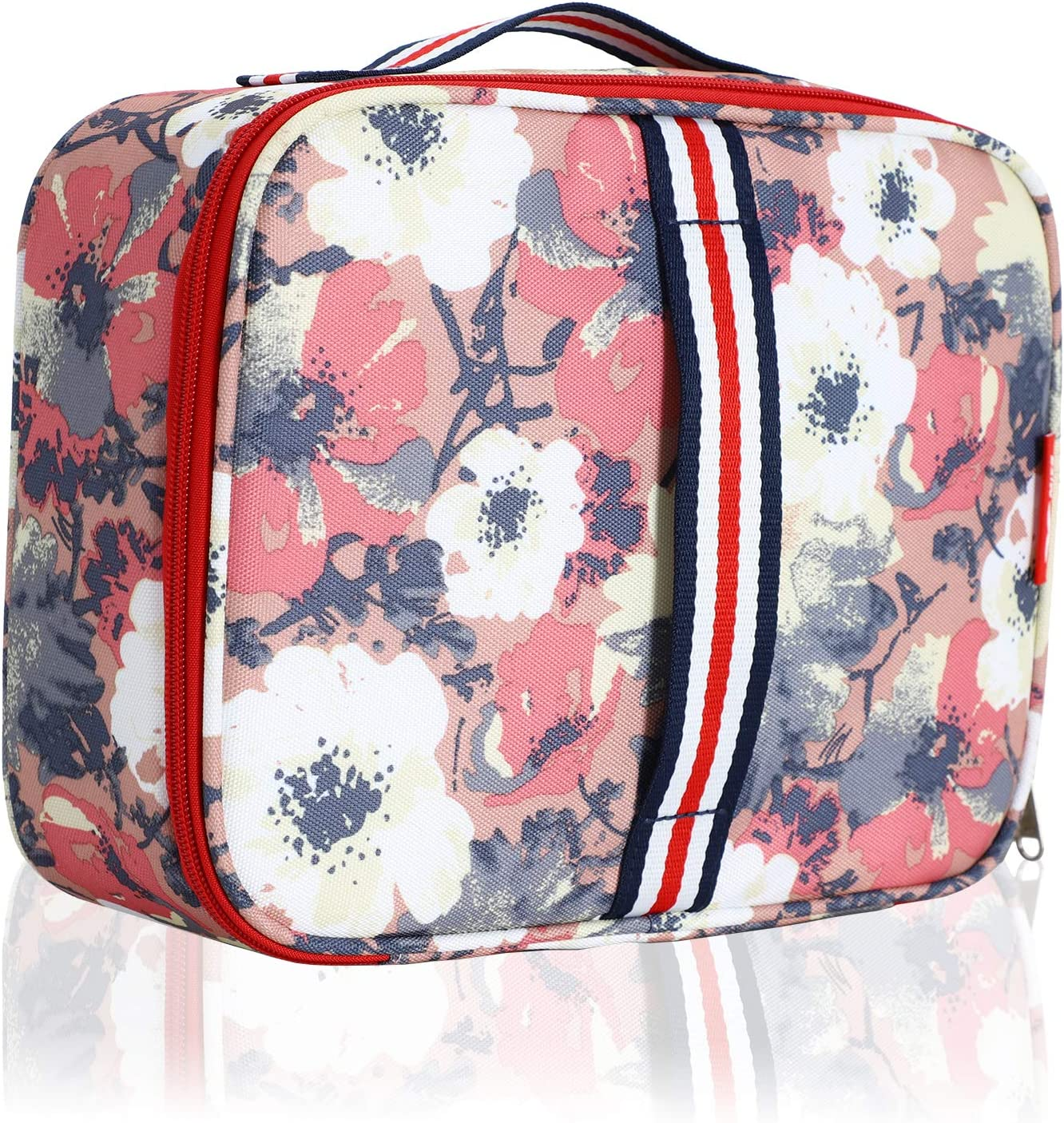 MIER Small Insulated Lunch Bag for Kid Men Women Mini Cooler Reusable Lunchbox Tote to School Office Picnic Travel, Leakproof and Portable, Apricot Anemone