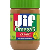 Jif Omega-3 Creamy Peanut Butter, 16 Ounces, Contains 32mg of Omega-3 DHA & EPA, Smooth, Creamy Texture, No Stir Peanut Butter