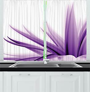 """Ambesonne Flower Kitchen Curtains, Purple Ombre Style Long Leaves Water Colored Print with Calming Details Image, Window Drapes 2 Panel Set for Kitchen Cafe Decor, 55"""" X 39"""", Purple and White"""