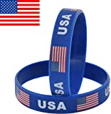 VEWOCK 7 INCH Silicone Bracelet Suitable Most People's Wrist Classic Wristbands 2-Pack (USA(Blue))