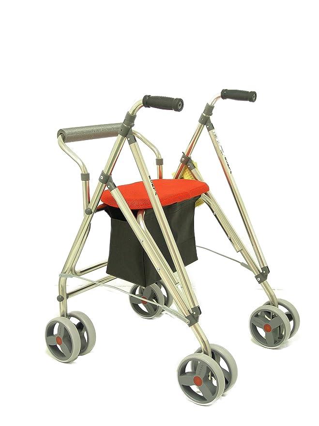 Forta fabricaciones - Andador de 4 ruedas para ancianos Kanguro FORTA - Kanguro HD, Naranja: Amazon.es: Salud y cuidado personal