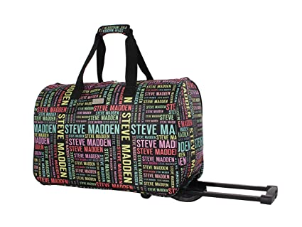new style ab0e1 c8d84 Steve Madden Luggage Suitcase Wheeled Duffle Bag (Rainbow Logo)