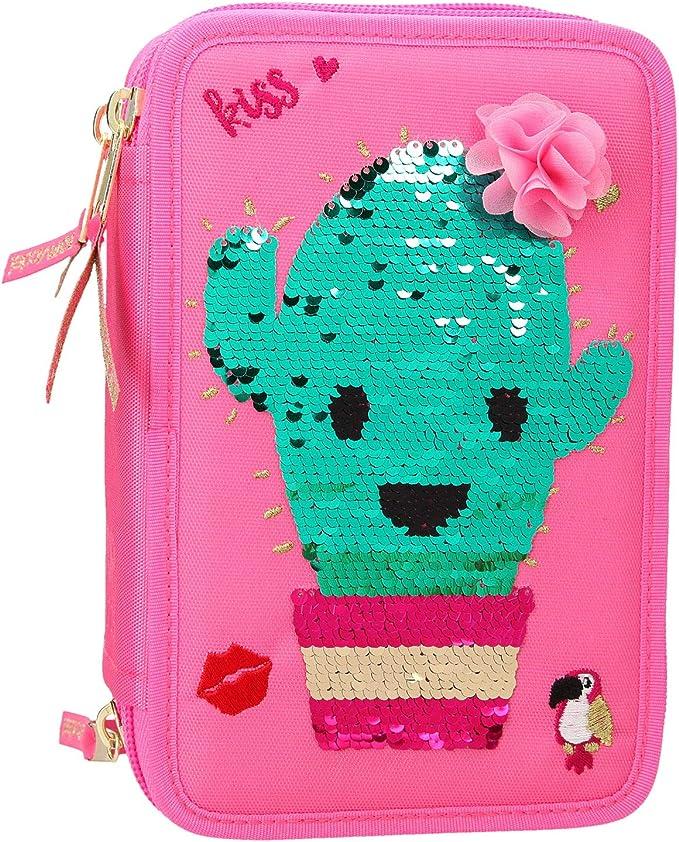 Depesche 10418 - Estuche con 3 Compartimentos y Lentejuelas de Cactus, Multicolor: Amazon.es: Juguetes y juegos