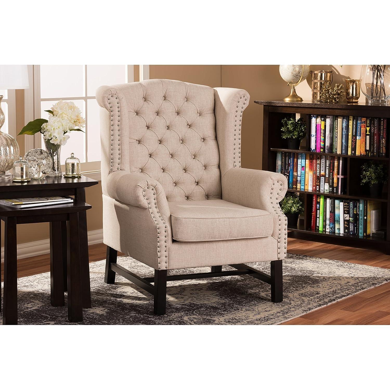 Amazon.com: Baxton Studio Sussex Beige Linen Club Chair BH 63102: Kitchen U0026  Dining