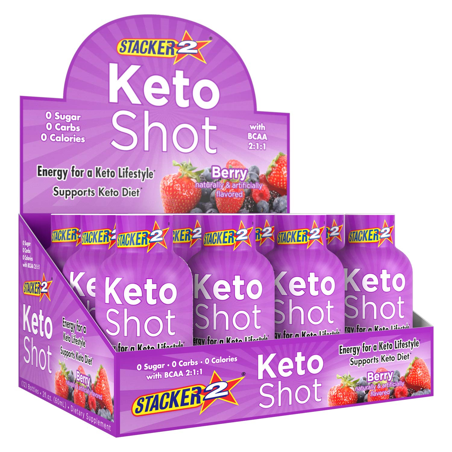 Stacker 2 Keto Diet Support Energy Shots Pre Workout Supplement 2 fl. oz. (Pack of 12) Berry