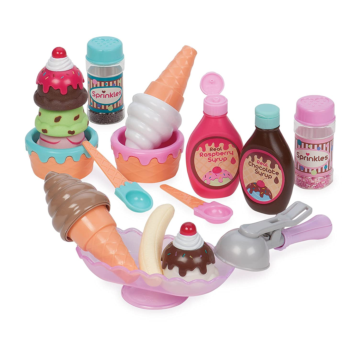 Play Circle by Battat – Sweet Treats Ice Cream Parlour – 21-piece Pretend Ice Cream Set for Kids – Pretend Play Food Sets for Toddlers Age 3 Years and Up