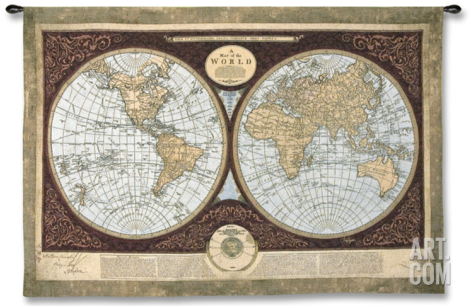 Map of the World Wall Tapestry by Mary Elizabeth at Art.com