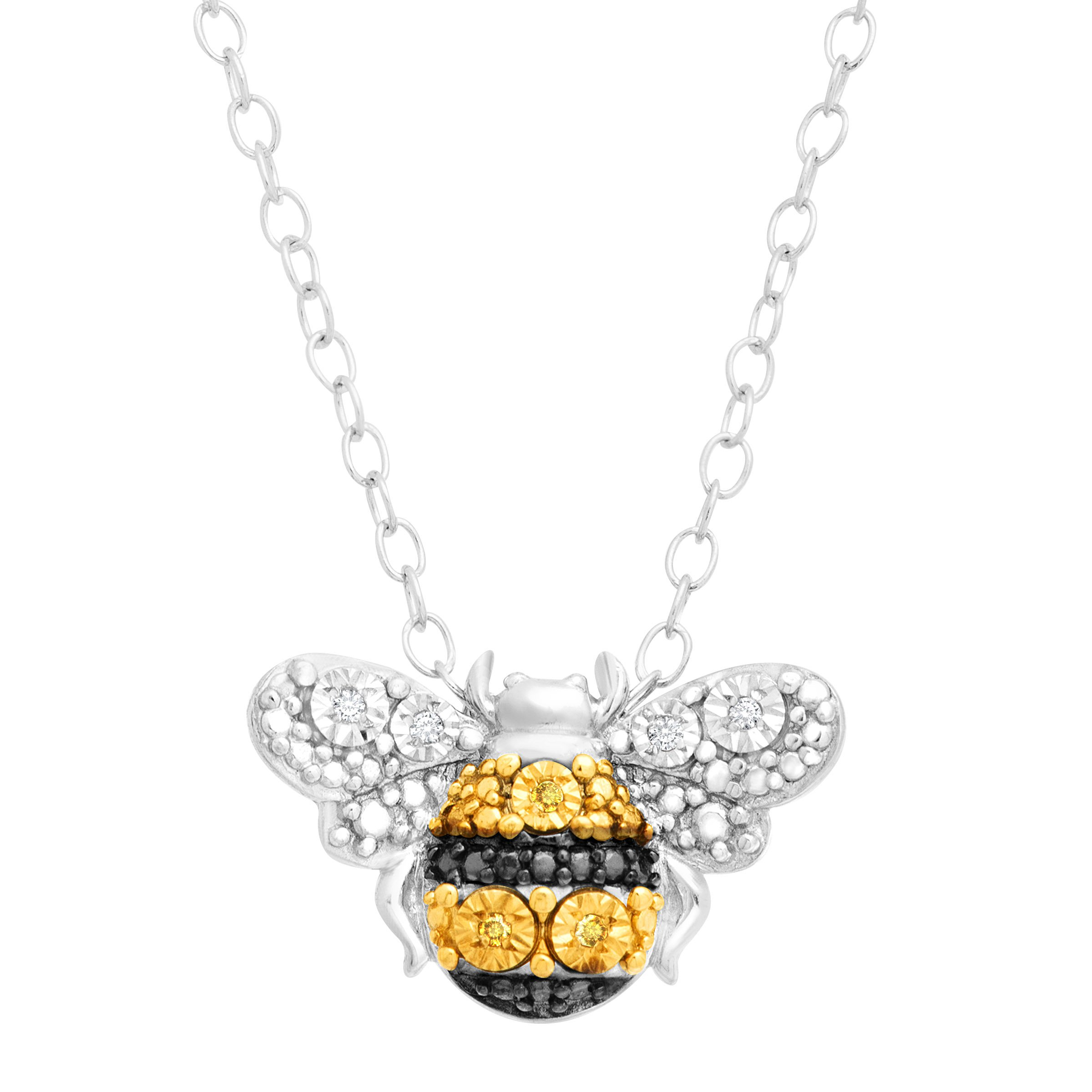 Petite Bumblebee Pendant Necklace With White And Yellow Diamonds In Sterling .. 8
